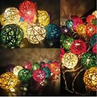 Battery Operated Handcraft Multi Colour Rattan Ball Warm White LED Fairy Lights