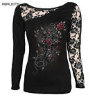 SPIRAL DIRECT Ladies Black Goth ANGEL BEADS Lace Top L/Sleeve All Sizes