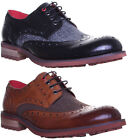 13307 Justin Reece Kennedy Mens Leather And Tweed Contrast Lace up Brogue