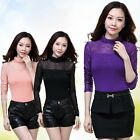 Shinning Women Turtleneck Slim Waist Blouse Tops Delicate Long Sleeve Tee Shirts