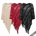 Womens Cable Knit Fringe Oversized Warm Poncho Top Cape Wrap Cover Jumper Size