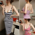 Sexy Women Scoop Neck Striped Backless Cotton Spaghetti Strap Bodycon Mid Dress