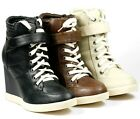 HIGH TOP LACE UP FASHION WEDGE SNEAKERS ANKLE BOOT SODA KAYAK-S BLACK BEIGE