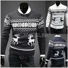 Fashion Mens Round Neck Deer Print Sweater Casual Pullover Cardigan Knitwear
