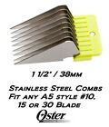 OSTER STAINLESS STEEL A5 Attachment Guard COMB Fit Most Andis, Wahl Clipper&Blade