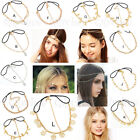 1X Boho Sytle Metal Rhinestone Elastic Head Chain Headband Head Piece Hair Band