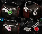 New Silver Plated Faux Crystal Charms Cuff Bracelet Colorful Bangle Adjustable