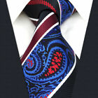 S12 Mens Necktie Tie Paisley Blue Red Mens Tie 100% Silk Wedding Extra Long Size