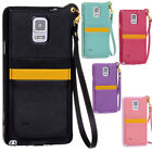 Wristlet Wallet Card Cover Leather Bumper Case for Samsung Galaxy Note 4 N9100
