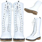 Women Zip Close Glossy Patent Leather Lace Up Mid Calf Combat Boots White