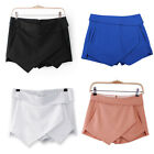 XS S M L XL 4 Color Women Asymmetric Tiered Culotte Shorts With Mini Skirt Chic
