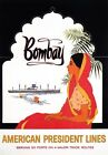 TX355 Vintage Bombay India American Cruise Ship Line Travel Poster A2/A3/A4