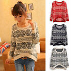 Women Long Sleeve Round Neck Knitted Pullover Jumper Loose Sweater Knitwear Tops