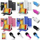 Wallet Leather Case+Car Charger Adapter+SP+Pen For Samsung Galaxy Note 3 N9000