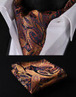 RF414N Orange Navy Blue Paisley Silk Cravat Scarves Ascot Hanky Handkerchief Set
