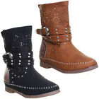 Womens Moccasin Flat boot Laser Cut Out Detail Buckle Detail Slough Effect