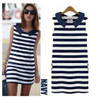 Fashion Women Lady Sleeveless Blue White Striped Casual Short Mini Dress Summer