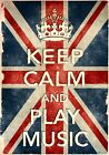 KCV32 Vintage Style Union Jack Keep Calm Play Music Funny Poster Print A2/A3/A4