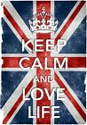 KC37 Vintage Style Union Jack Keep Calm Love Life Funny Poster Print A2/A3/A4