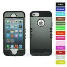 For iPhone 5 5S Metallic Gray Hard+Rubber Hybrid Rugged Impact Armor Case Cover