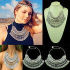 Bohemian Gypsy Ethnic Turkish Beachy Silver Coin Statement Necklace Fringe Chain