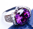 NEW! 10CT COCKTAIL Amethyst & Russian CZ .925 Sterling Silver Ring Sizes  5-9