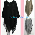 New Fashion Women Winter Cozy Poncho/Bat-wing Style Sweater Coat/Exotic Top