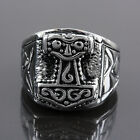 1pc Woman Man's Unisex Punk Rock Stainless Steel Thor's Hammer Finger Ring