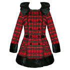 Hell Bunny Fiona Jane Red Tartan Plaid Padded Vtg Emo Alternative Winter Coat