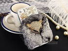 "Luxury Gray Soft Rabbit Fur Bling Fox Case For Apple iphone 5 5S 6 4.7"" plus5.5"""
