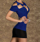 Lady Royal Blue Hollow Outs Sexy Women Party Club Top Blouses Hardware Clubwear