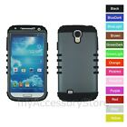 For Samsung Galaxy S4 Metallic Gray Hard+Rubber Hybrid Rugged Impact Armor Case