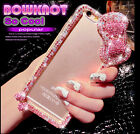 Bling Diamonds Pink Chain Baby Pink Bow Clear Hard Case Cover For Mobile Phone