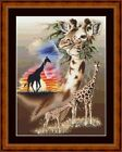 AFRICAN GIRAFFE -  14 COUNT CROSS STITCH CHART (DMC THREADS) FREE PP WORLDWIDE