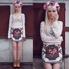 S M L XL Women's Sheer Embroidery Floral Lace T-Shirt Tops Blouse Beige Black