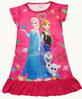 Disney Frozen Elsa Anna Olaf Dress Girl Pajama Sleep Nightwear 3-10 Yr Hot Pink