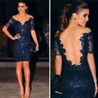 S M L XL Women Lace Clubwear Evening Party Cocktail Blue Sequins Mini Dress