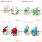 Fashional Stud Earrings Oval White Red Blue Beads Tibetan Silver Leverback Hoop