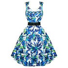 Ladies Womens New Blue Green Floral 50s Vtg Rockabilly Swing Party Prom Dress