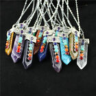 Fashion Hexagonal Pointed Chakra Pendant Natural Bead Sword Stone With Necklace
