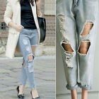 2015 Popular Women Jeans Cut Out Ripped Hole Distressed Denim Frayed Crop Pants