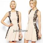 Elegant Nice Women's Black Lace Splice Beige Round Neck Sleeveless Summer Dress