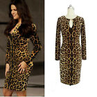 2015 Womens Long Sleeve Leapord Sexy Party Sheath Pencil Dress S-XXL New Arrival