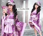 Kimono purple Lolita Maid Japanese Anime Cosplay Costume Beautiful Dress