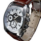 Men's Silver Case Leather Band Quartz Analog Wrist Watch GW Quartz Sports Watch