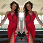Womens Party Prom Red Plunge Maxi Evening Gown Party Cocktail Ladies Dress
