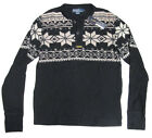 $185 Polo Ralph Lauren Mens Black Snowflake Button LS Knit Shirt Sweater New