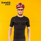 SANTIC Men's Outside Sports Compression Tights Running Tights Short Sleeves Top