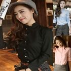 1Pc New Women Long Sleeve Cotton Shirt Stand Collar Button Blouse Tops 4 Colors