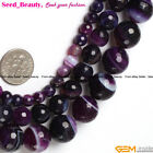 New Purple Faceted Round Banded Agate Gemstone Jewelry Making Beads Strand 15""